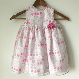 White and Pink Tulip Floral Party Dress